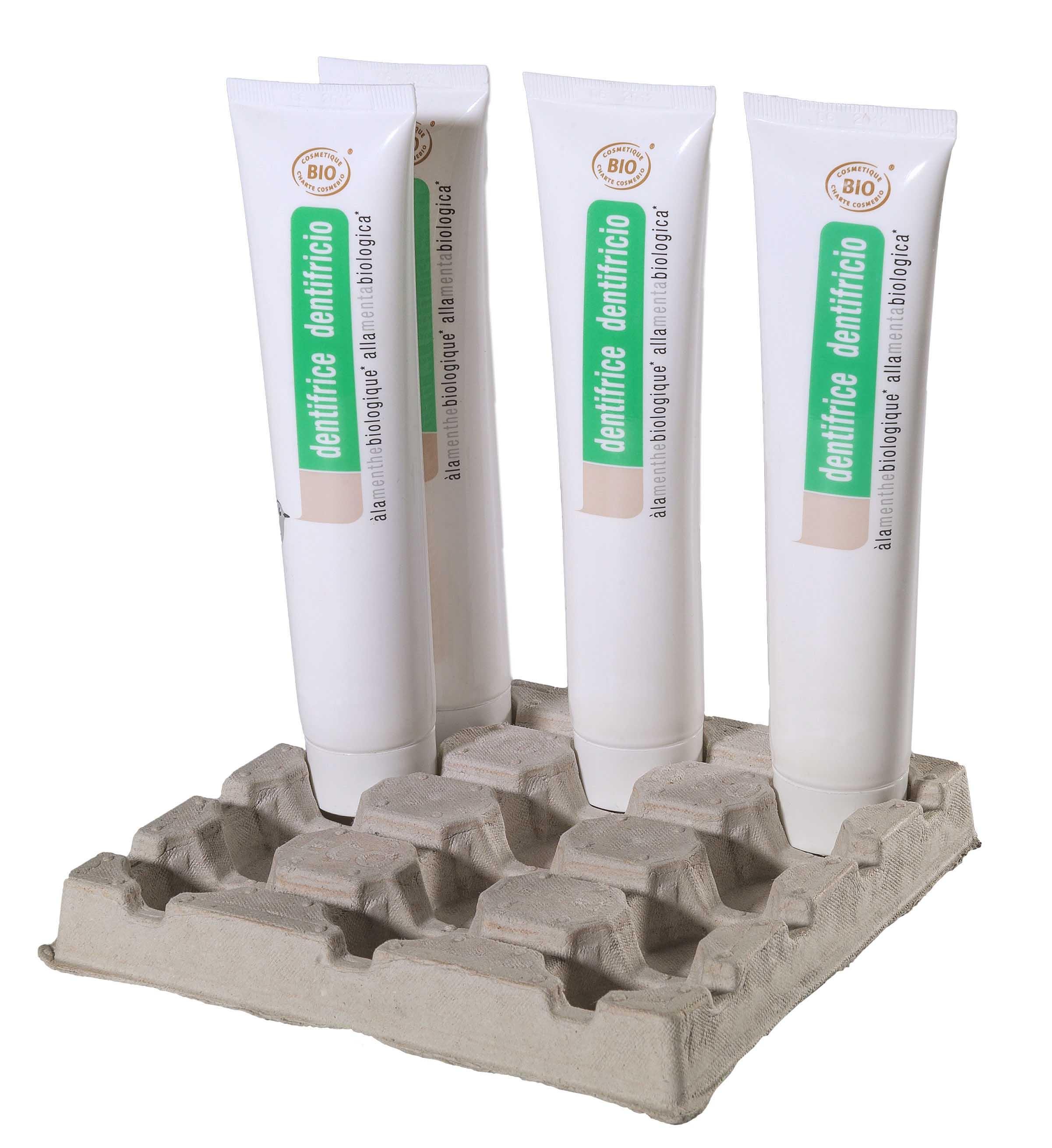 Intercalaire spécifique pour présentation de tubes de dentifrice