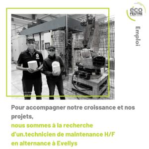 ecofeutre recrute recrutement cellulose moulée technicien maintenance cdi pontivy